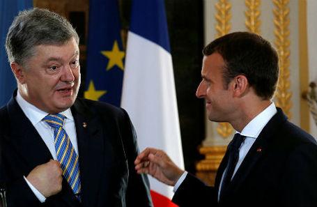Президент Украины Петр Порошенко и президент Франции Эммануэль Макрон.