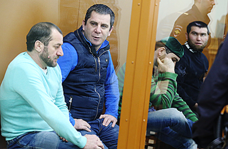 Фигуранты по делу об убийстве политика Б.Немцова Хамзат Бахаев, Тамерлан Эскерханов, Шадид Губашев и Анзор Губашев (слева направо).