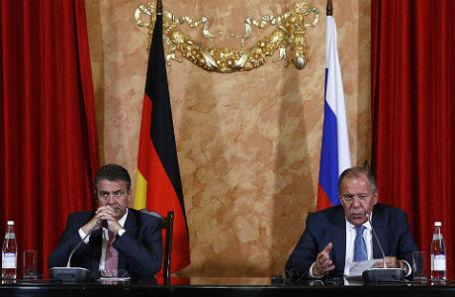 Пресс-конференция глав МИД России Сергея Лаврова и Германии Зигмара Габриэля в Краснодаре.
