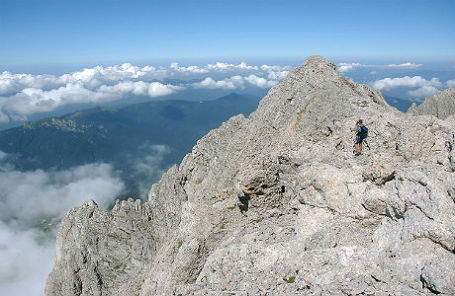 Вершина горы Фишт на Западном Кавказе.
