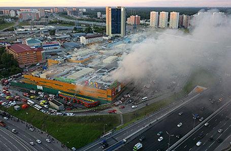 Во время пожара в торговом центре «Рио» на Дмитровском шоссе.