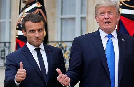 Президент Франции Эммануэль Макрон и президент США Дональд Трамп.