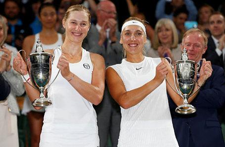 Российские теннисистки Екатерина Макарова и Елена Веснина (слева направо).