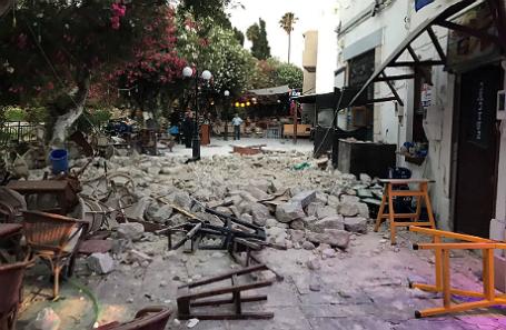 Последствия землетрясения на острове Кос.