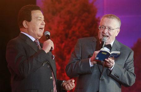 Иосиф Кобзон и Владимир Жириновский на праздновании 70-летия Жириновского в Манеже.