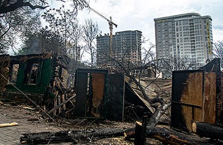 На месте пожара в центре Ростова-на-Дону.