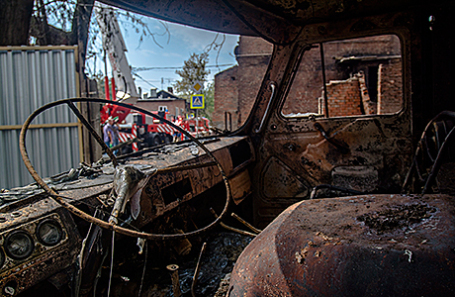 На месте пожара в Ростове-на-Дону.