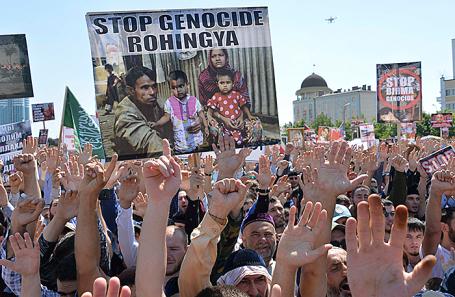 Митинг в Грозном в поддержку мусульман Мьянмы.