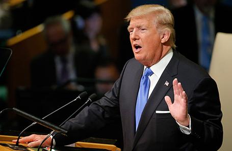 Президент США Дональд Трамп во время выступления в рамках общеполитической дискуссии 72-й сессии Генеральной ассамблеи ООН в Нью-Йорке, 19 сентября 2017.