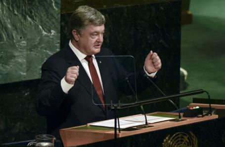 Президент Украины Петр Порошенко во время заседания Совета безопасности ООН по миротворчеству на уровне глав делегаций в штаб-квартире ООН.