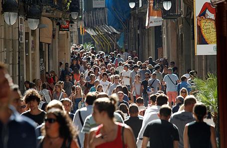 На одной из улиц Барселоны.