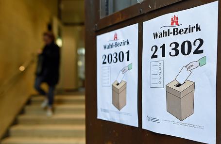 Избирательный участок в Гамбурге, Германия.