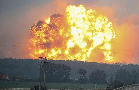 Пожар на складе боеприпасов в Виннице.