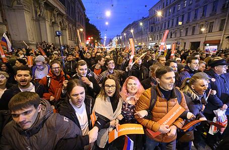 Несанкционированная акция в поддержку Алексея Навального в Санкт-Петербурге.