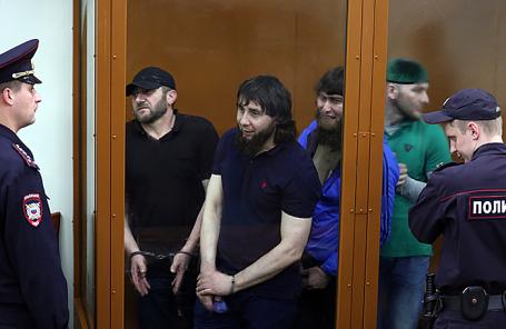 Фигуранты дела об убийстве политика Б. Немцова Хамзат Бахаев, Заур Дадаев, Анзор Губашев и Шадид Губашев (слева направо).
