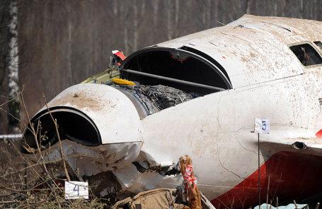 На месте крушения самолета ТУ-154 под Смоленском 10 апреля 2010.