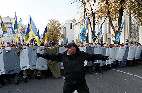 Митинг у здания Верховной рады в Киеве, Украина.
