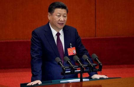 Председатель КНР Си Цзиньпин на XIX съезде Коммунистической партии Китая.
