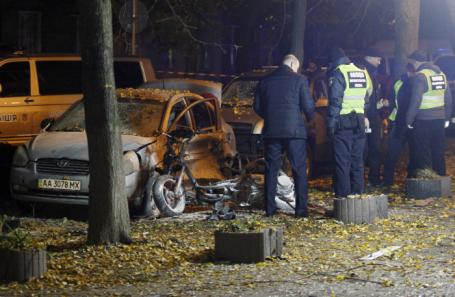 На месте взрыва в Киеве.