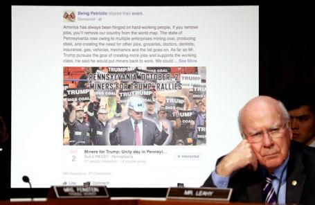 Пример «российского» поста в Facebook на слушаниях в Сенате США.
