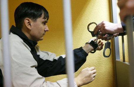 Жилец обрушившегося дома Александр Копытов во время рассмотрения ходатайства следствия об избрании ему меры пресечения в Октябрьском районном суде.