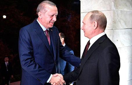Президент Турции Реджеп Тайип Эрдоган и президент России Владимир Путин (слева направо).