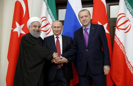 Президент Ирана Хасан Роухани, президент РФ Владимир Путин и президент Турции Реджеп Тайип Эрдоган на встрече в Сочи.
