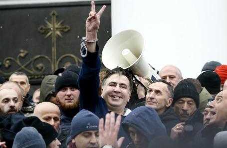 Михаил Саакашвили после освобождения в Киеве.