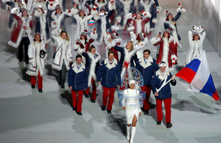 Олимпийская сборная России на открытии Игр в Сочи в 2014 году.