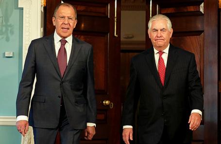 Министр иностранных дел РФ Сергей Лавров и госсекретарь США Рекс Тиллерсон.