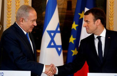 Президент Франции Эммануэль Макрон и премьер-министр Израиля Биньямин Нетаньяху на совместной пресс-конференции в Елисейском дворце.