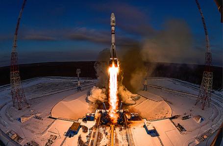 Во время запуска ракеты-носителя «Союз-2.1» с разгонным блоком «Фрегат».