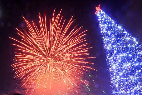 Празднование Нового года в Новосибирске.