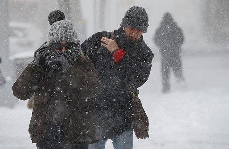 Снегопад в Нью-Йорке, США.