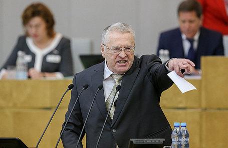 Лидер ЛДПР, член комитета Госдумы РФ по обороне Владимир Жириновский во время первого пленарного заседания весенней сессии Госдумы РФ, 10 января 2018.