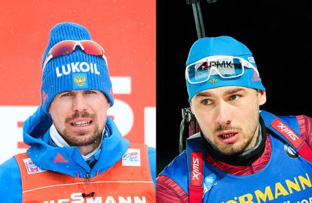 Российские спортсмены Сергей Устюгов и Антон Шипулин (слева направо).