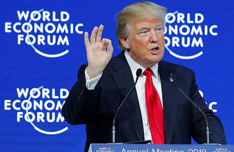 Дональд Трамп во время выступления на Всемирном экономическом форуме в Давосе.