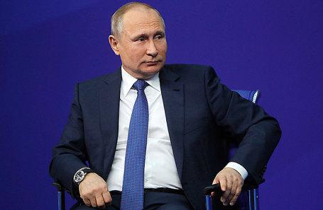 Президент России Владимир Путин во время встречи с доверенными лицами в Гостином дворе.