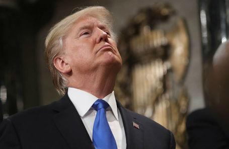 Президент США Дональд Трамп во время выступления с ежегодным посланием «О положении страны» в Конгркссе США.