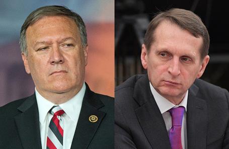 Директор ЦРУ Майк Помпео и руководитель Службы внешней разведки РФ Сергей Нарышкин.