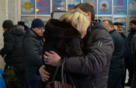 Родственники погибших в аэропорту