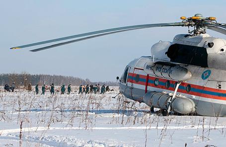 На месте крушения самолета Ан-148 «Саратовских авиалиний» в Подмосковье.