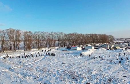 Поисковая операция на месте крушения самолета Ан-148 в Подмосковье.