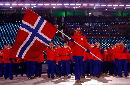 Сборная Норвегии на церемонии открытия Олимпийских игр в Пхенчхане.