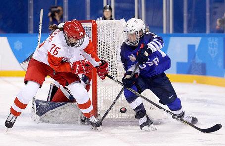 Матч группового этапа между сборной командой Словакии и командой олимпийских спортсменов из России на соревнованиях по хоккею среди мужчин на XXIII зимних Олимпийских играх.