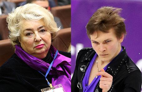 Тренер-консультант сборной России по фигурному катанию Татьяна Тарасова (слева) и фигурист Михаил Коляда.