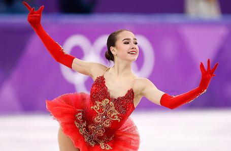 Алина Загитова во время выступления на Олимпийских играх в Пхенчхане.