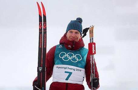 Олимпийский спортсмен из России Александр Большунов, завоевавший серебряную медаль в масс-старте на 50 км классическим стилем на соревнованиях по лыжным гонкам среди мужчин.