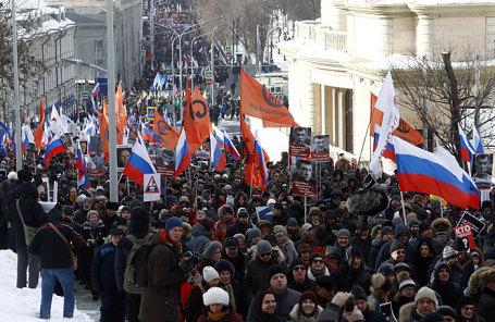 Во время марша памяти, посвященного годовщине гибели политика и общественного деятеля Бориса Немцова.