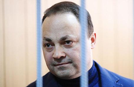 Бывший мэр Владивостока Игорь Пушкарев, обвиняемый в коррупции, во время заседания в Тверском суде в Москве, 27 февраля 2018.